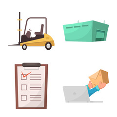 Isolated object of goods and cargo logo. Set of goods and warehouse stock symbol for web.