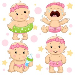 Set of illustrations of icons of baby of children of girls with a life ring, hysterical and crying, with a bottle of milk, and is standing.