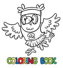 Little funny owl doing exercises. Coloring book