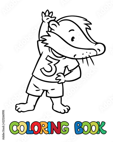 Little funny badger doing exercises. Coloring book\