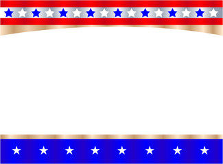 Festive United States flag symbol frame with blank space for your text and images.