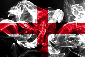 National flag of England made from colored smoke isolated on black background