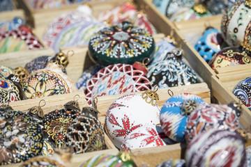 Christmas decorations at market in Uzbekistan.