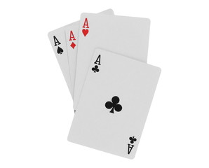 Playing cards for poker and gambling, four aces isolated on white background with clipping path