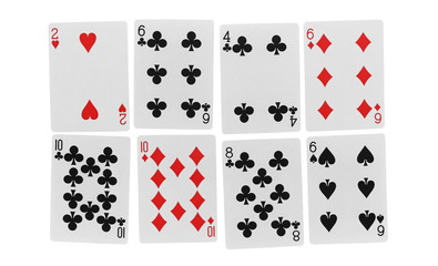 Set and collection of playing cards for poker and gambling, isolated on white background with clipping path