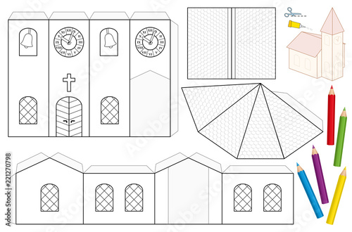 Church paper craft sheet  Unpainted cut-out template for children