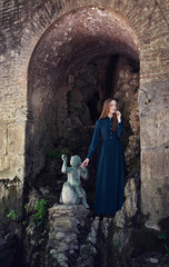 Beautiful female near old castle