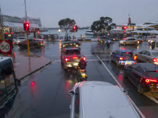 Rainy commute home in Auckland