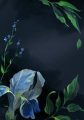 Vertical card of blue iris flower and leaf on black background