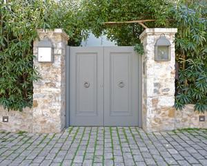 Elegant house metallic grey door, Athens Greece