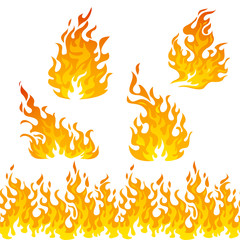 Fire flames vector set