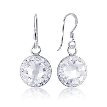 beautiful white diamon earrings with reflection on white background