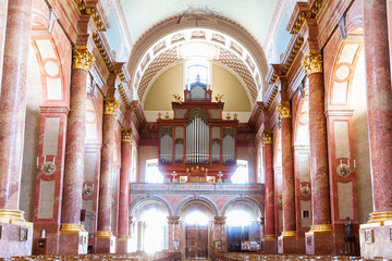 Szombathely, Hungary - Aug 27, 2018: Our Lady of the Visitation Cathedral internal view also called Szombathely Catholic Cathedral in the city of Szombathely