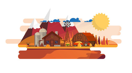 Flat illustration of Countryside Farm Landscape in Autumn. Vector Design.