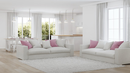 Modern house interior. White interior. 3D rendering.