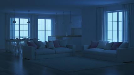Modern house interior. White interior. Night. Evening lighting. 3D rendering.