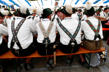 """People in traditional costumes take part at 73rd """"Gaufest"""" in Murnau"""