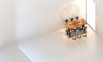 3d render of kitchen table