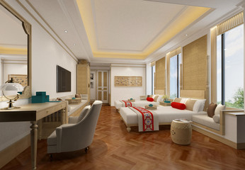 3d render of chinese style hotel room