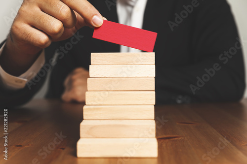 Hand Arranging Wood Block Stacking As Step Stair Ladder Career Path
