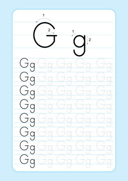 Alphabet letters tracing worksheet with alphabet letters. Basic writing practice for kindergarten kids A4 paper ready to print vector illustration