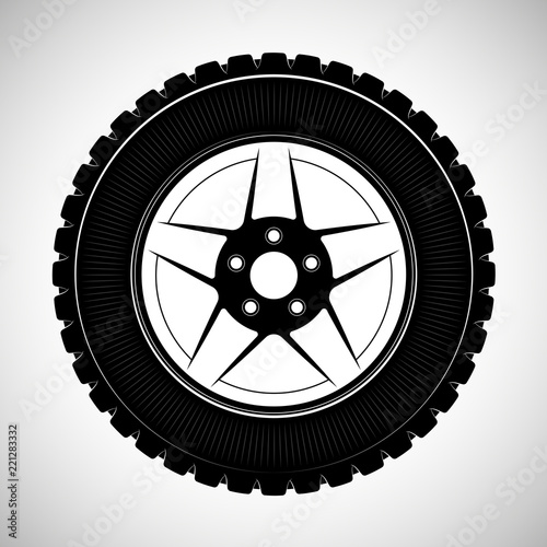 Wheels And Tires Are Black For A Logo Or Emblem Of A Tire Store Or