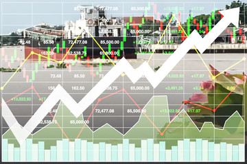 Stock financial index presentation background of successful investment on water transportation industry and cargo ship business.