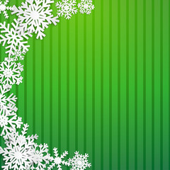 Christmas illustration with semicircle of big white snowflakes with shadows on striped green background