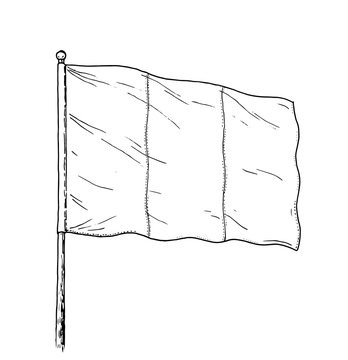 French or Italian flag drawing - vintage like illustration of triple colour flag. Contour on white background.