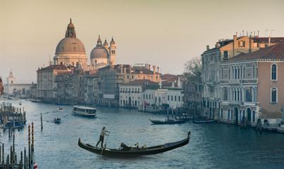 Photo sur Plexiglas Gondoles Grand Canal and Basilica Santa Maria della Salute during sunset, Venice, Italy