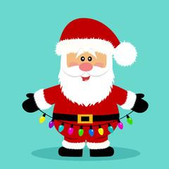 Christmas card. Santa. Santa with a garland.
