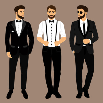 A man with suspenders. The groom. Clothing. Wedding men's suit,