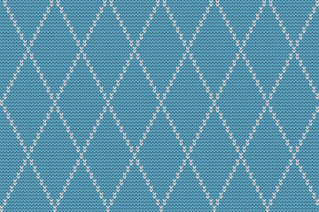 Seamless knitted pattern with white rhombuses on a blue background. Checkered winter background. Vector illustration