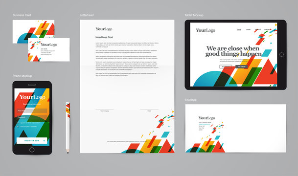 Corporate identity vector mockup with basic stationery set. Easy editable abstract graphic + logo in symbols.