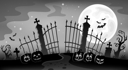 Cemetery gate silhouette theme 9