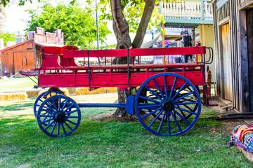 Vintage Horse Drawn Wagon On Display At Local County Fair