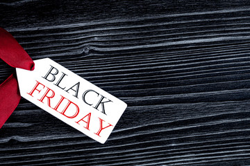 concept black friday on dark wooden background top view