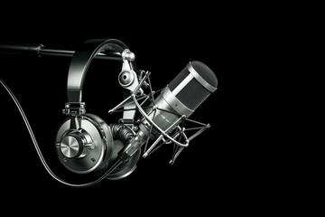 Audio recording studio equipment, Headphones on microphone stand