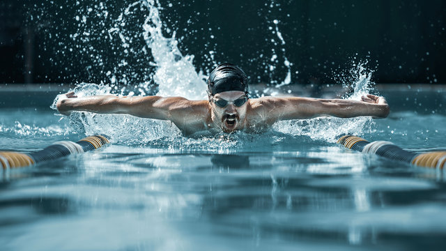 The dynamic and fit swimmer in cap breathing performing the butterfly stroke at pool. The young man. The fitsport, swimmer, pool, healthy, lifestyle, competition, training, athlete, energy concept