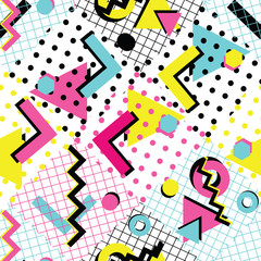 Colorful abstract 80s style seamless pattern