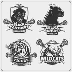 Set of lacrosse emblems, badges, logos and labels with tiger, panther and wildcat.