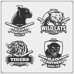 Set of baseball emblems, badges, logos and labels with tiger, panther and wildcat.