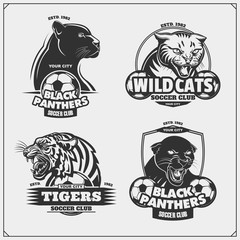 Set of soccer emblems, badges, logos and labels with tiger, panther and wildcat.