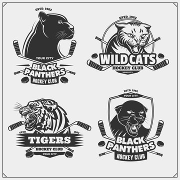 Set of hockey emblems, badges, logos and labels with tiger, panther and wildcat.