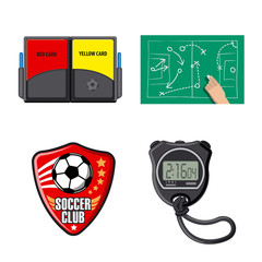 Vector illustration of soccer and gear logo. Collection of soccer and tournament stock vector illustration.
