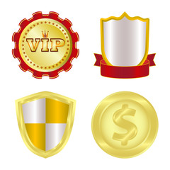 Vector design of emblem and badge icon. Set of emblem and sticker vector icon for stock.