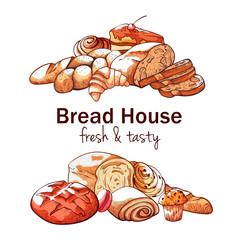 Bakery hand drawn background on white background