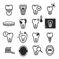 Dental care icon set on white background