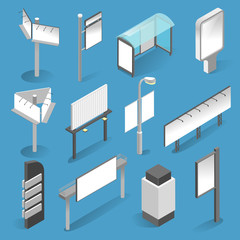 Street billboard isometric set on white background