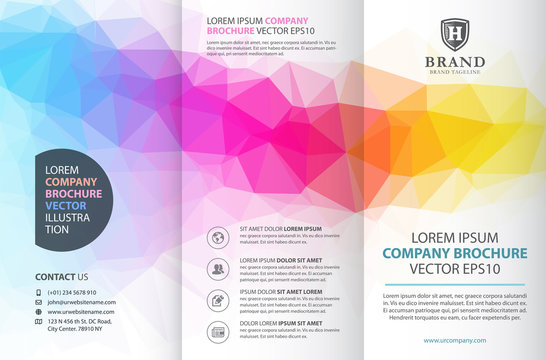 Abstract colorful geometric trifold brochure design template